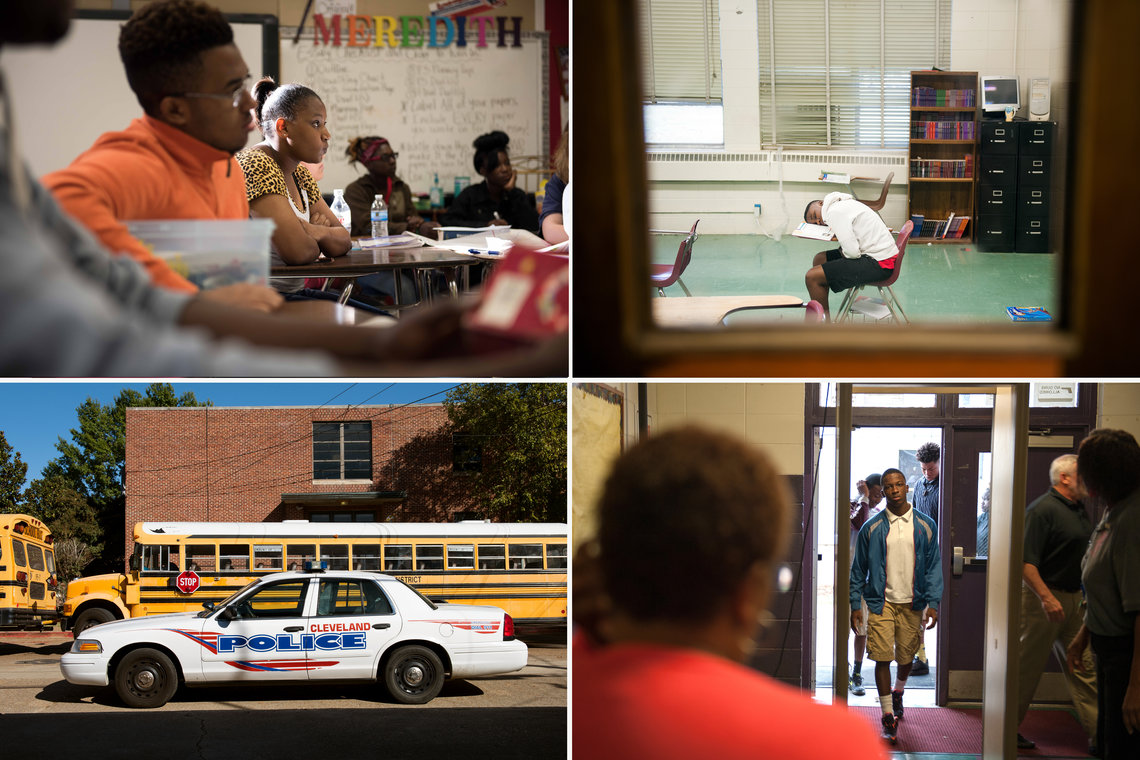 Clockwise from top left: Students learn about tolerance at Cleveland High School in the Mississippi Delta; a student asleep in class at the Yazoo City Alternative Learning Center; students walk through a metal detector at the Alternative Learning Center; police park outside Cleveland High School after school.
