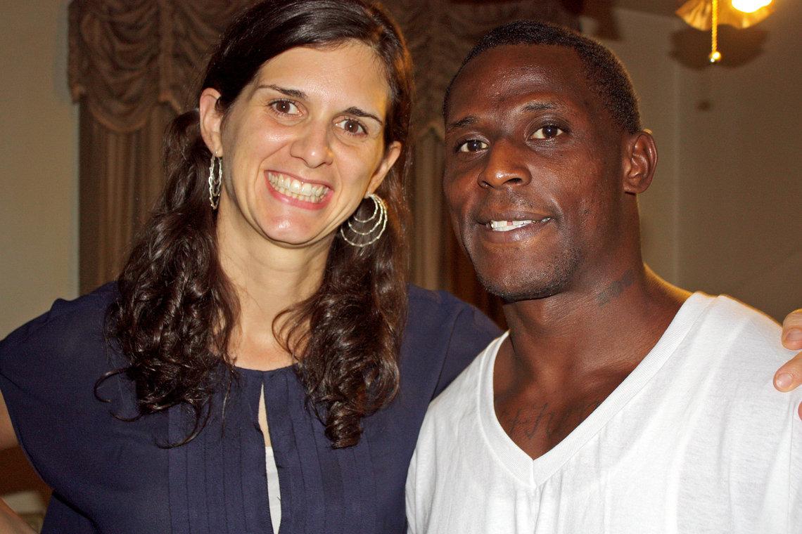 Montez Spradley with his attorney Anna Arceneaux on Sept. 10 in Birmingham, Ala.