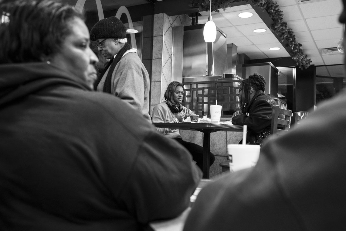 The group stops for breakfast in Wise County, VA.