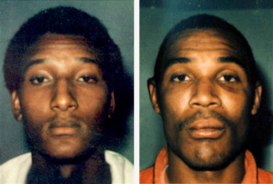 Ronald Cotton,left, and Bobby Poole photographed at the time of their arrests.