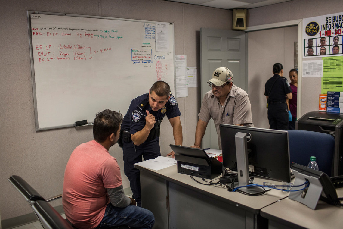 Customs and Border Protection officers tried to communicate with a man from India who came with his wife to the border station in Laredo, with no entry visas, in October 2017.  The officers used a mobile phone app to identify his language — Gujarati — and then conducted a basic interview to learn his name and why the couple feared returning to India and wanted to stay in the United States.