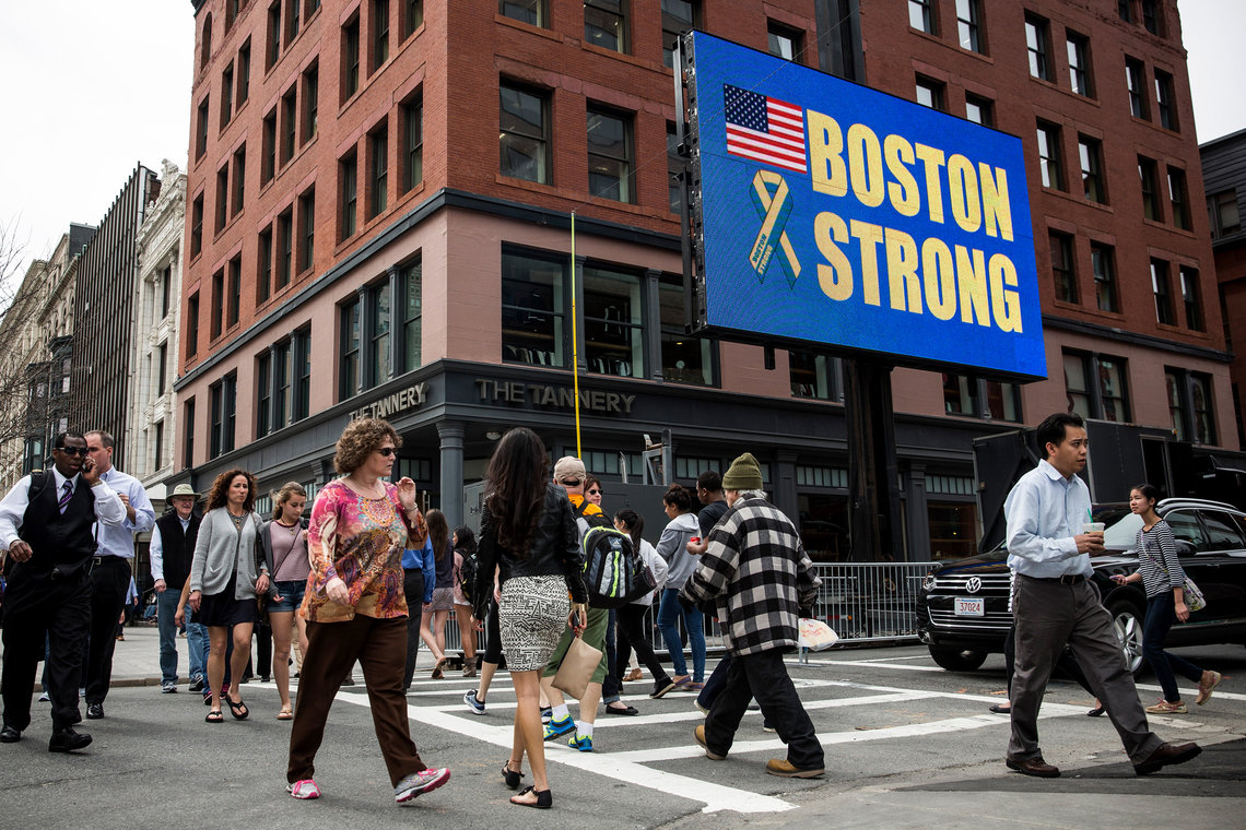 A electronic billboard near the finish line of the Boston Marathon in April 2014, a year after the bombings.