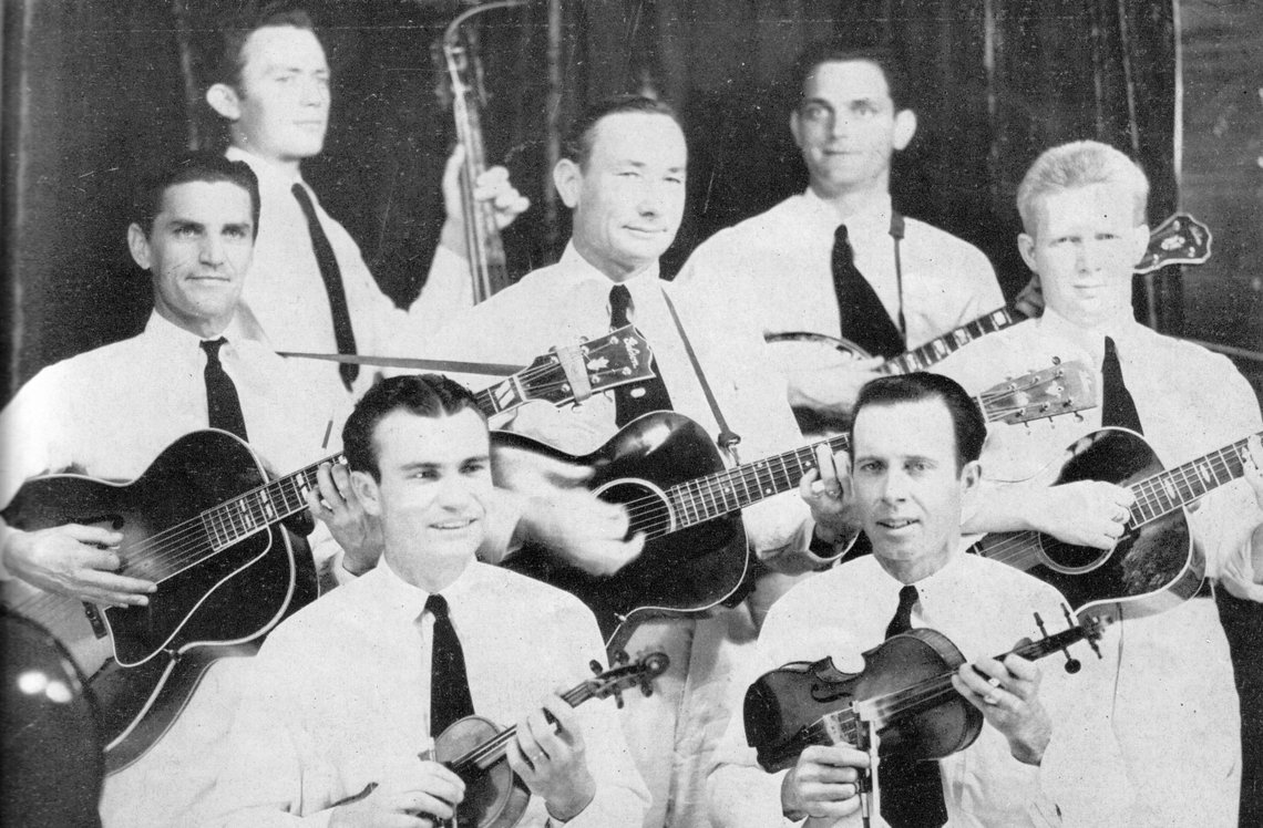 An early photograph of the Rhythmic Stringsters, around 1938 or 1939.