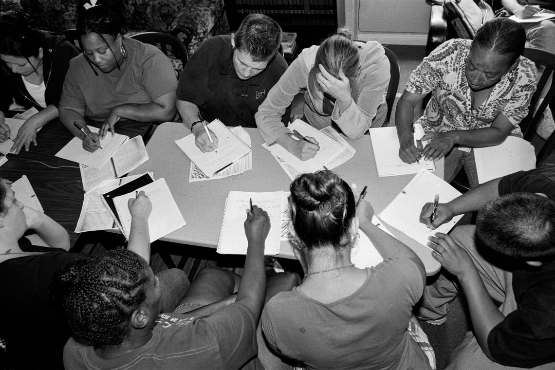 A writing workshop at Walden House where women are encouraged to write about their addictions. (Los Angeles, 2008)