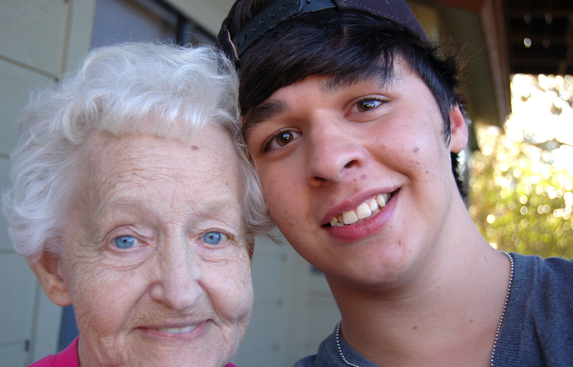 Alex Grothues, right, when he was 18, with his grandmother, Peggy Goodman.