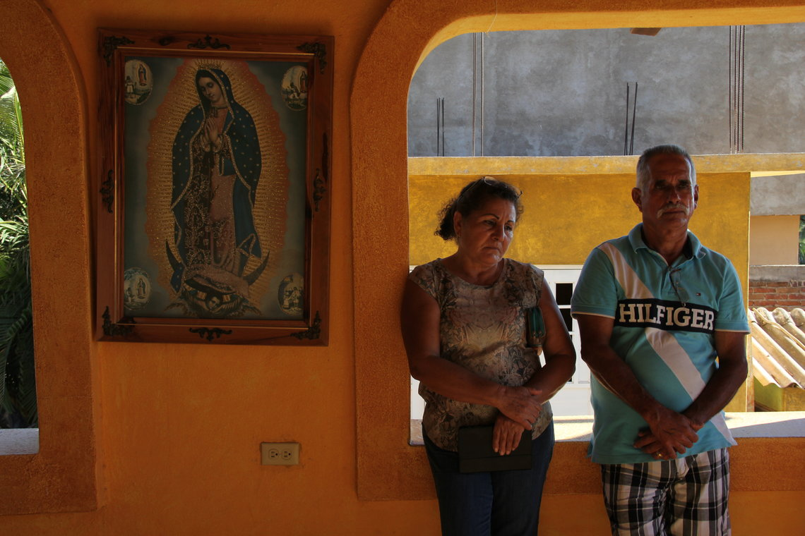 """""""Even today I can't accept my son's death,"""" said José de Jesús Sahagun's father, Silverio Deniz, right, with José's mother, Elisa Deniz, in Jalisco, Mexico in 2016. """"I feel like there's a part of my heart missing."""""""