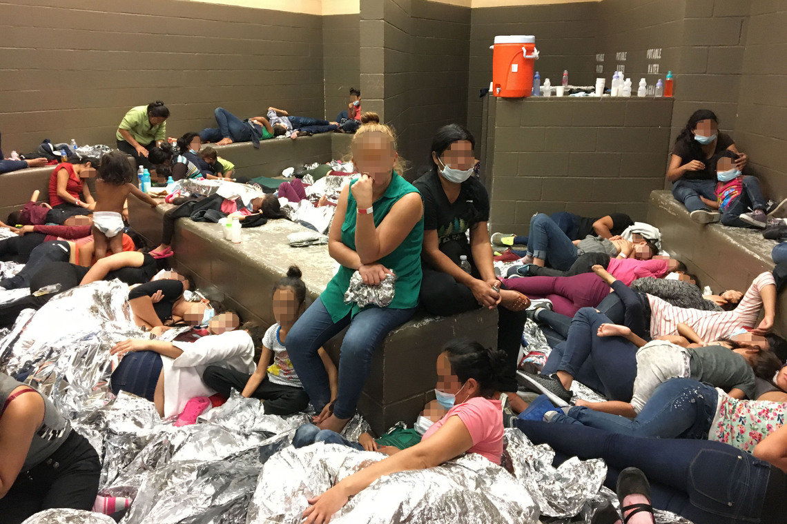 A Department of Homeland Security inspection report shows overcrowding of families on June 11, 2019, at the Weslaco, Texas, Border Patrol station.
