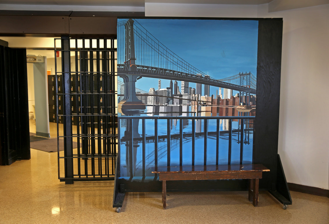 A mural depicting the Manhattan Bridge inside the Wallkill Correctional Facility in Ulster County, New York.