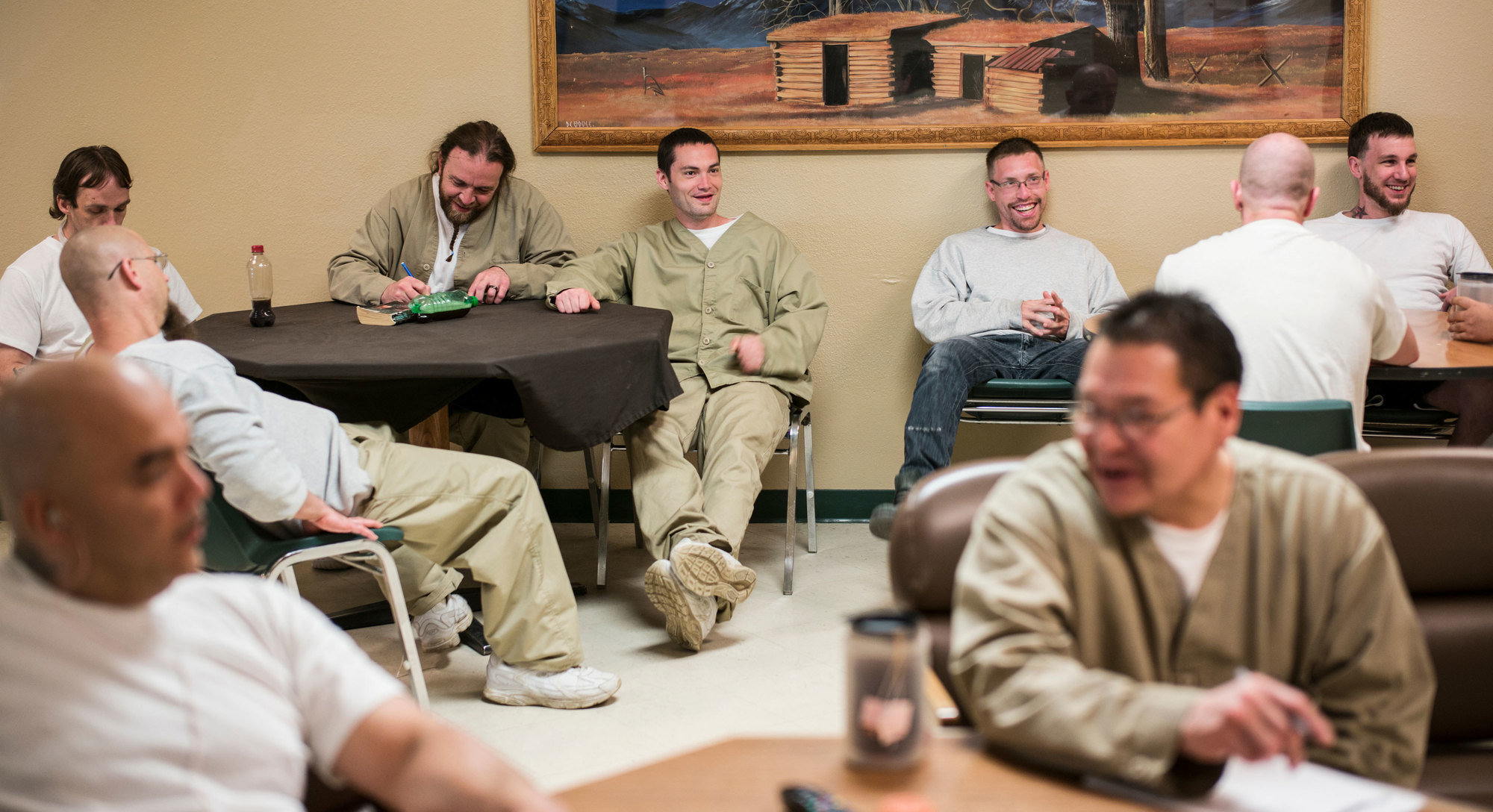 Inmates watch television at the Missouri River Correctional Center, a minimum-security facility in Bismarck, N.D., which has based some of its programs on those found in a prison in Norway.
