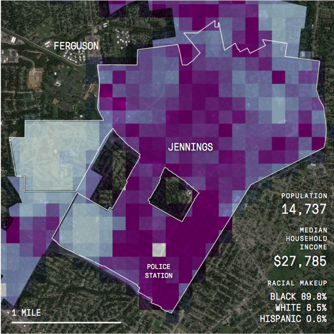 Jennings, divided into HunchLab squares on the morning of December 15, 2015. The DARKER THE SQUARE, the greater the risk that a crime will occur.