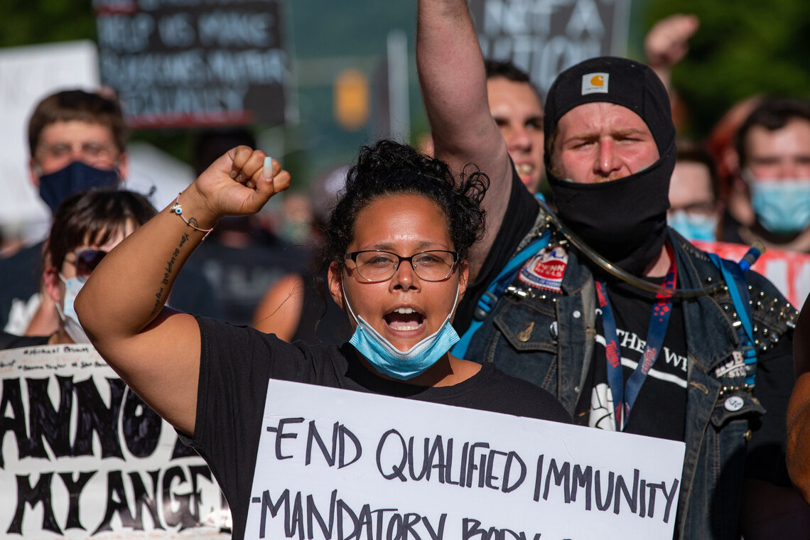 Protesters at a Black Lives Matter march in Lock Haven, Penn., in July of 2020.