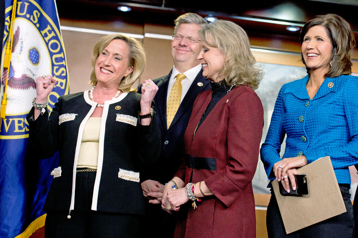 From left, Reps. Ann Wagner (R-Mo.), Randy Hultgren (R-Ill.), Renee Ellmers (R-N.C.), and Kristi Noem (R-S.D.), at a January news conference about legislation to end human trafficking.