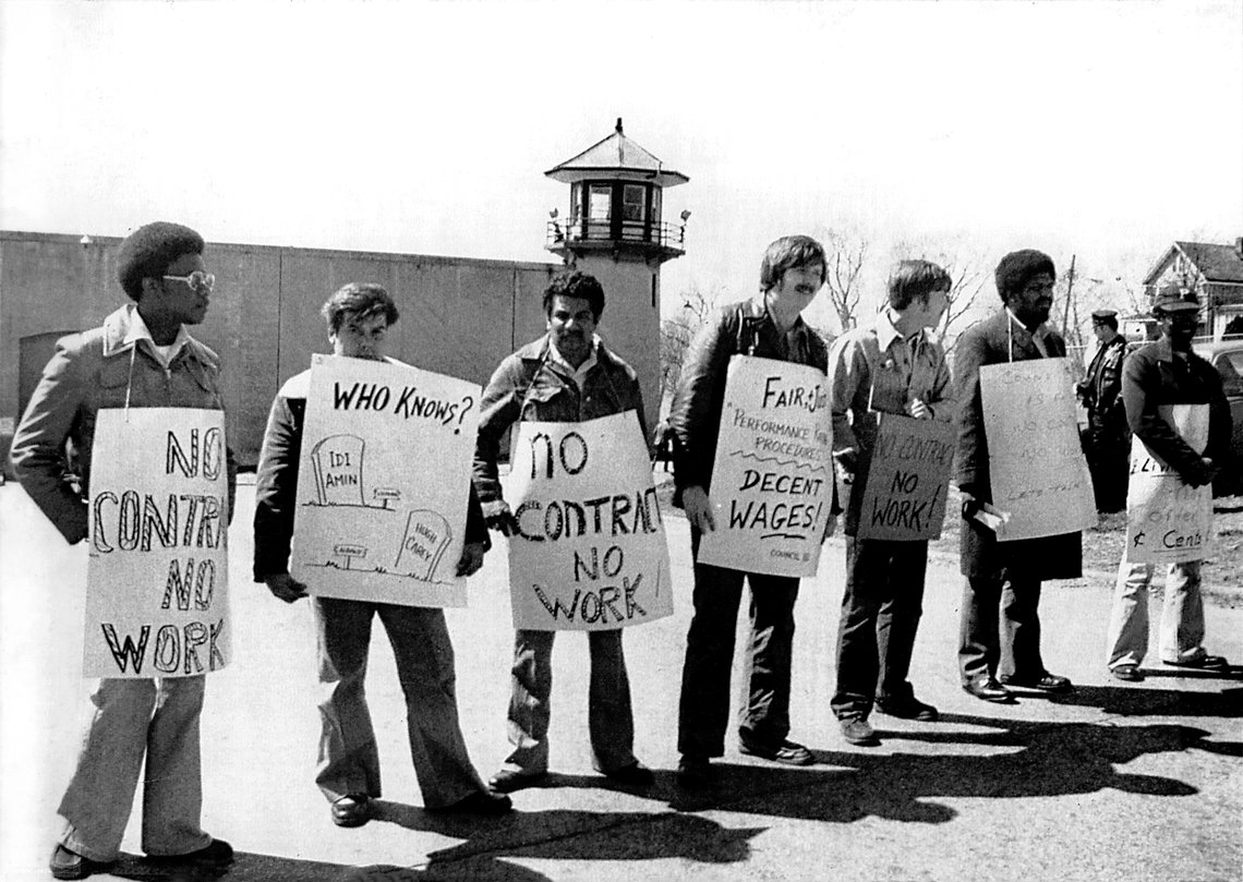 New York State corrections officers picketing outside Sing Sing Correctional Facility in Ossining, N.Y., in April 1979. Though it violated state law, the prison guards' strike that year yielded better pay and bargaining power for their union.