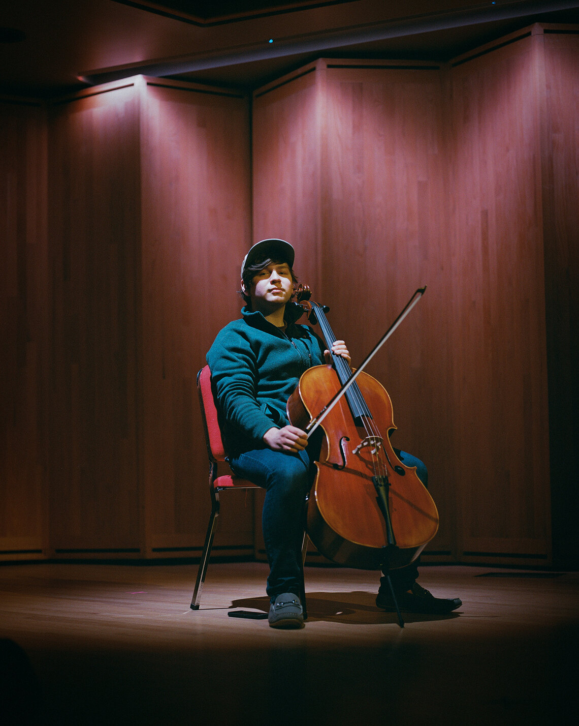 Jaime with his cello at the University of Alaska Anchorage's Recital Hall in April 2021.