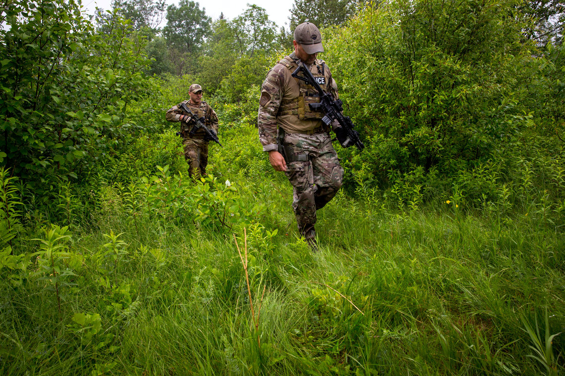 Law enforcement searching for escaped prisoners, Richard Matt and David Sweat, in Elsinore, New York.