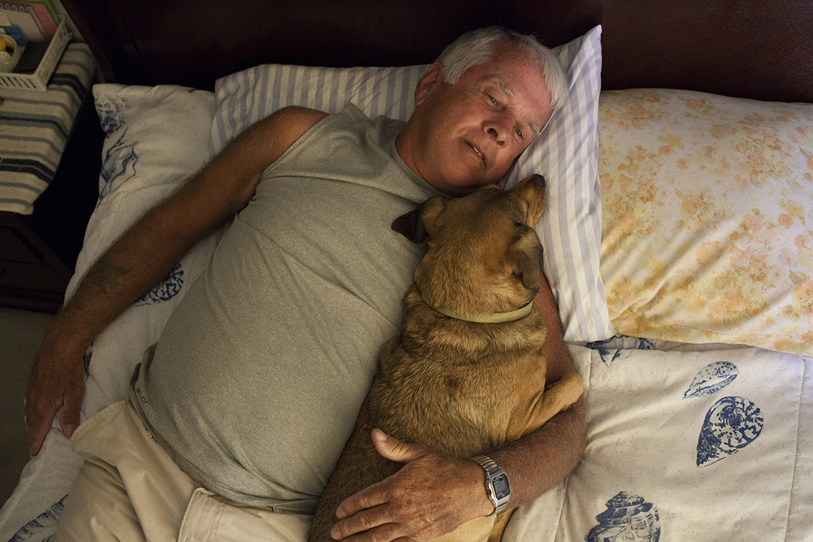 Gene with his dog, Killer.