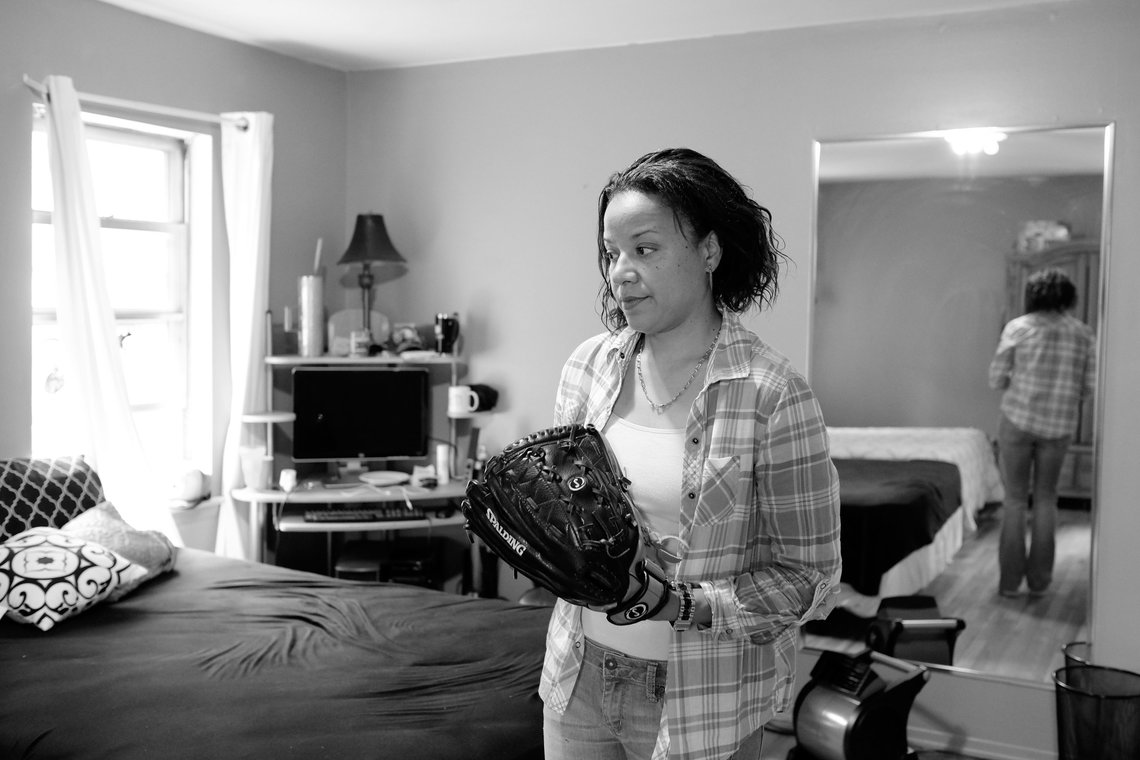 Keila at her cousin's home on Long Island, above, where she lived after her release from prison.
