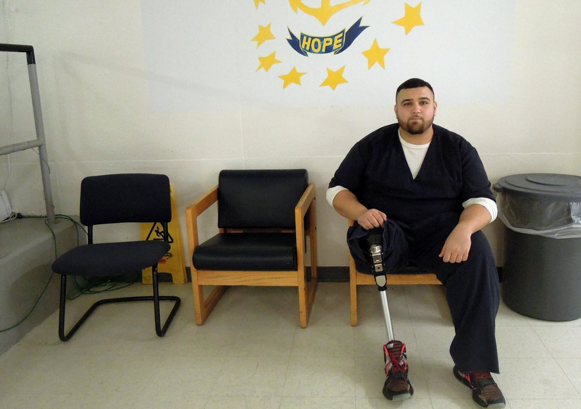 Mark is participating in the Rhode Island Department of Corrections medication-assisted treatment program. He lost his leg as a result of a drug overdose.