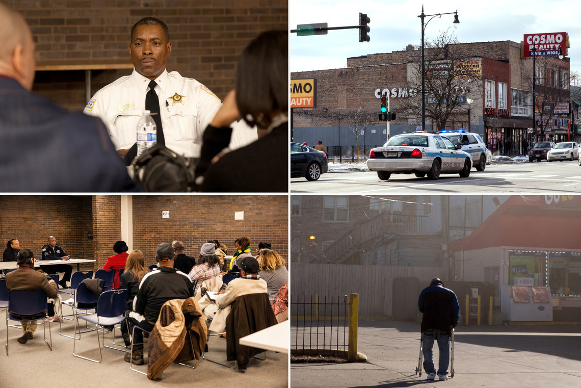 <B>SCENES FROM THE 11th DISTRICT</B> Clockwise from top left: Deputy Chief James Jones listens to residents at a community meeting; police vehicles at the intersection of Madison Street and Karlov Avenue in the West Garfield Park neighborhood; a gas station in the Lawndale neighborhood; Sgt. Daniel Allen leads a police meeting at the 11th District stationhouse.