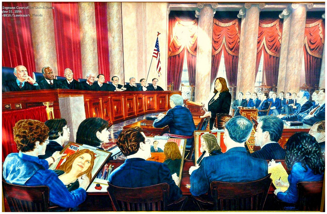 A painting commissioned by Mary Catherine Bonner of her U.S. Supreme Court argument in 2006.