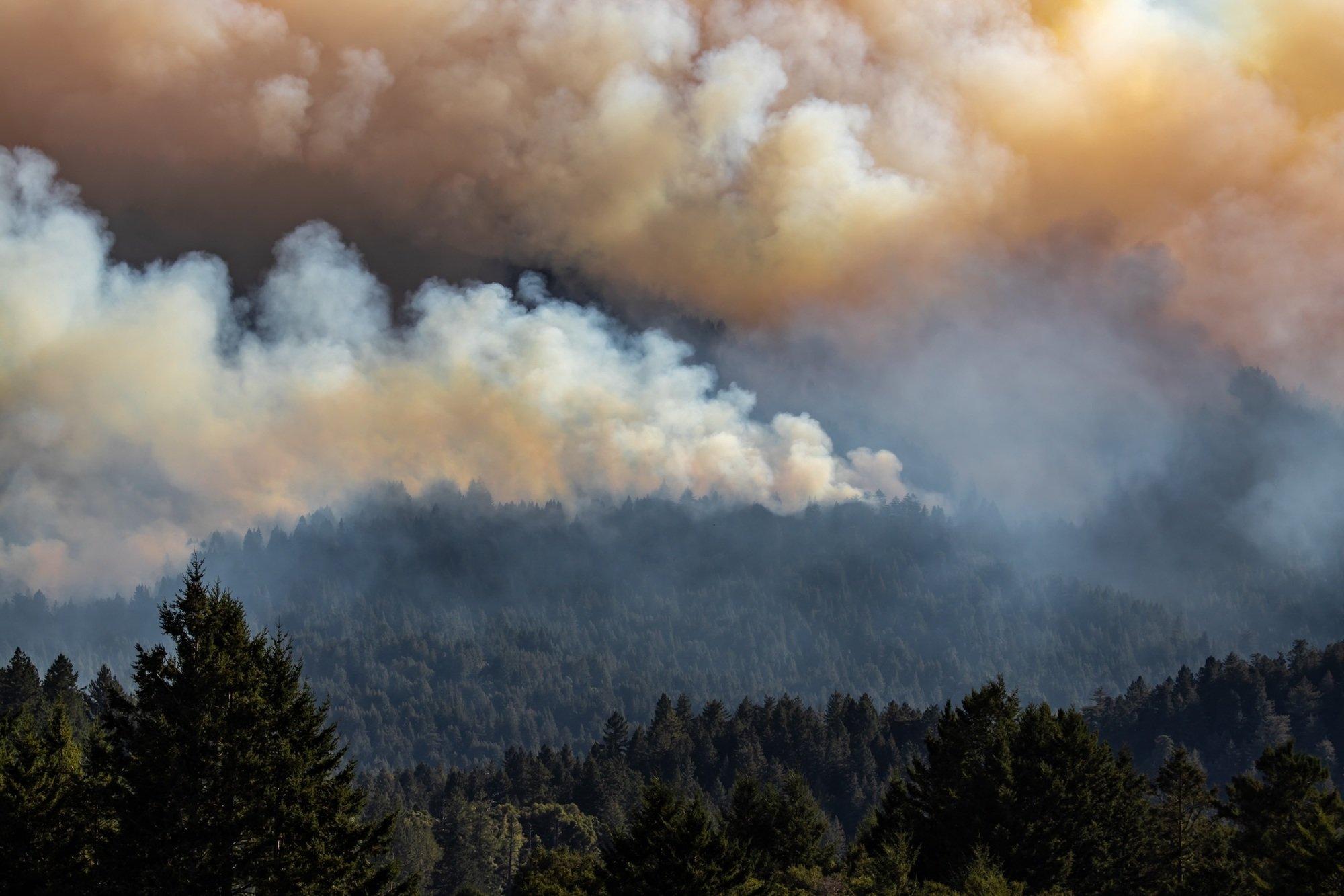 The CZU Lightning Complex fire, as seen from La Honda, California, on August 19, 2020.