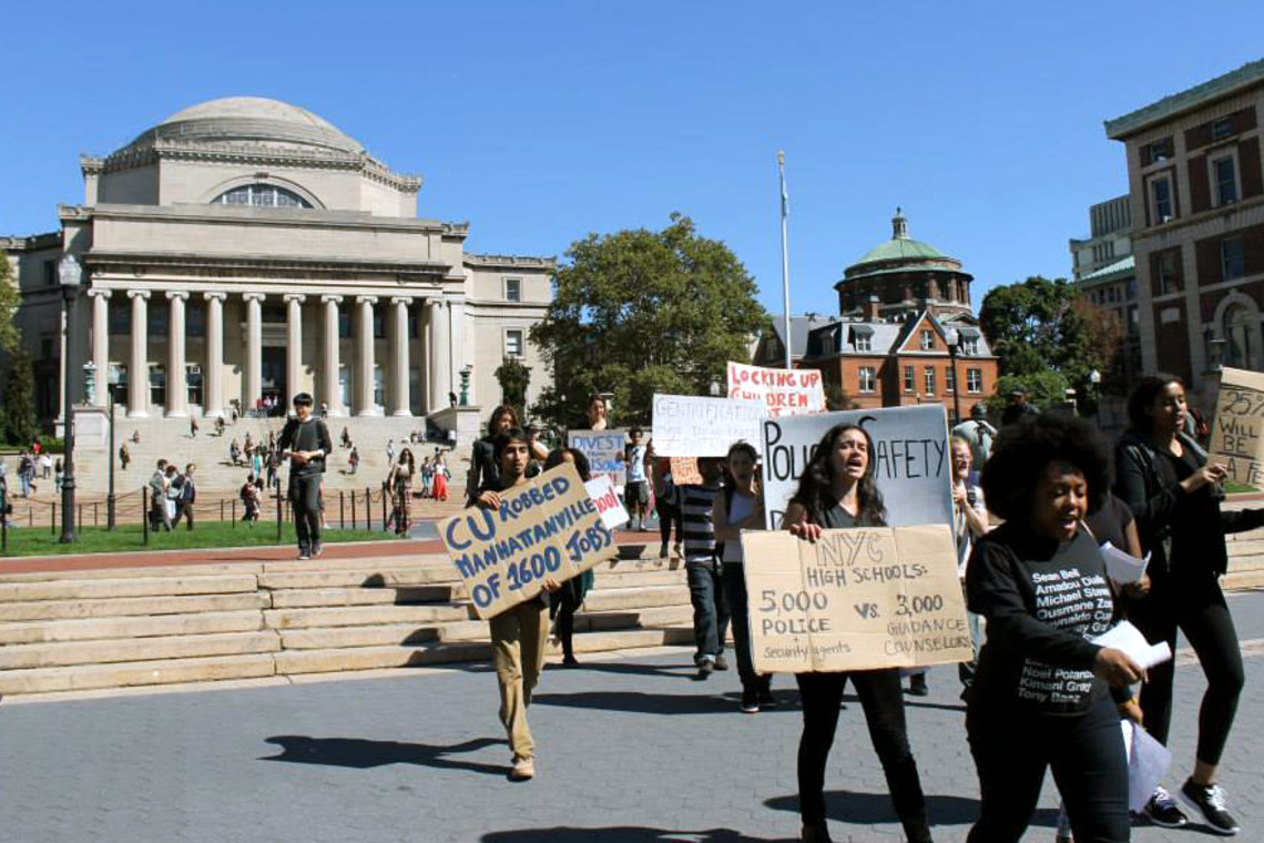Members of Columbia Prison Divest protest at Columbia University in September.