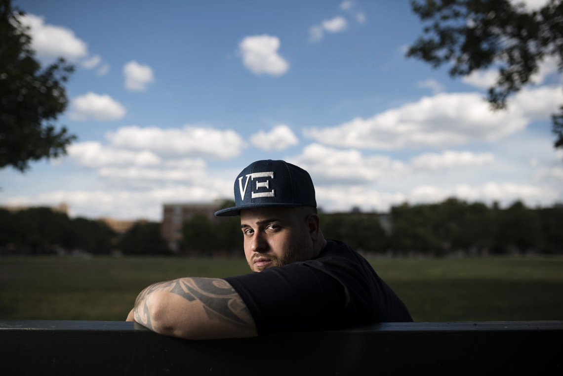Aaron Cedres in the Bronx. A felony assault charge related to a Sept. 2013 altercation outside the El Batey Lounge, where Cedres worked as a bouncer, upended the then-25-year-old's life and left him homeless. He sometimes slept here, in Rainey Park.