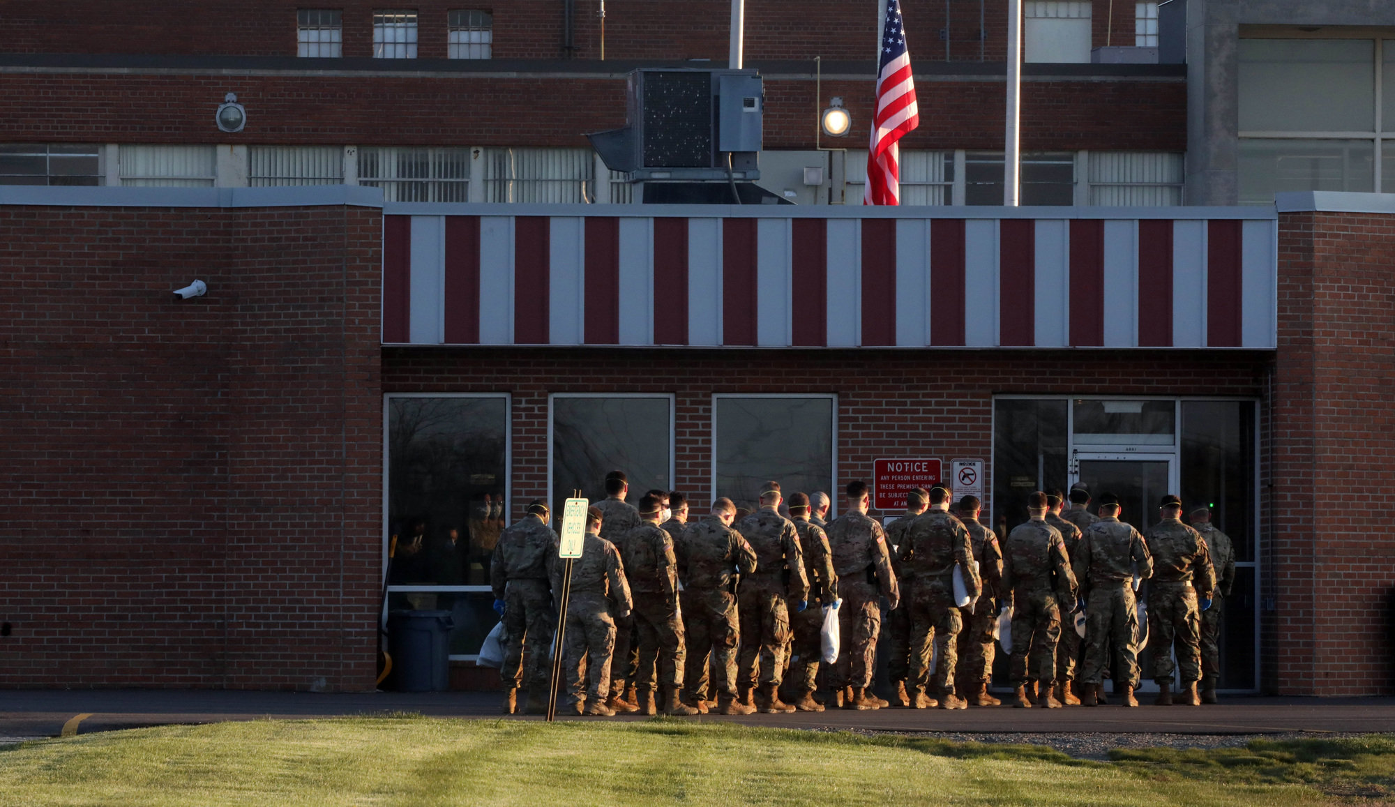 Members of the National Guard headed into the Marion Correctional Institution in Marion, Ohio, to help during the COVID-19 pandemic on April 20, 2020.