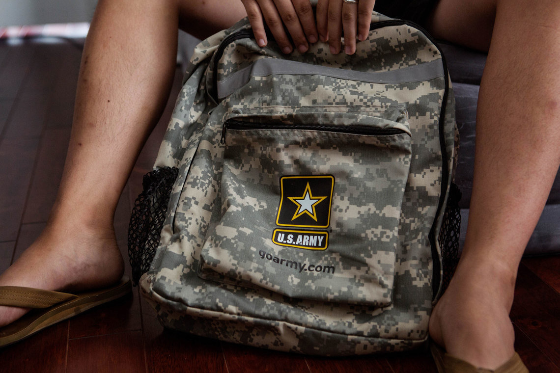 Cho has been issued a backpack by the Army but so far no uniform.  After enlisting in June 2016, he is still waiting for word from the Army on when he will begin basic training.  He is among about 360 DACA holders who enlisted and are now caught in delays.