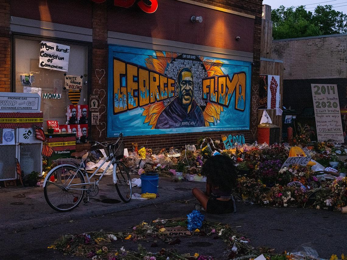 Community members visited a memorial for George Floyd in Minneapolis, Minn., in June of 2020.