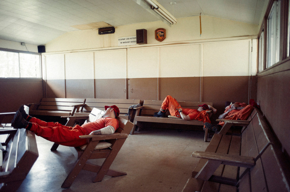 A percentage of inmates must remain dressed, ready and on-call for fires at all times, because they can be called at any time by CAL FIRE to assist on a fire or a medical emergency.