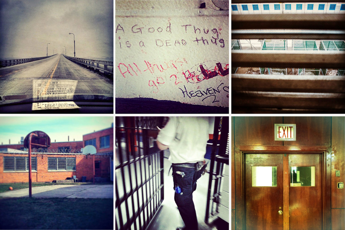 The view from Instagram. Clockwise from left: The bridge to Rikers; bathroom graffiti inside the visitors center; the new maximum-security wing; the entrance to a chapel; a correction officer at an adolescent unit; an exercise and recreation area.