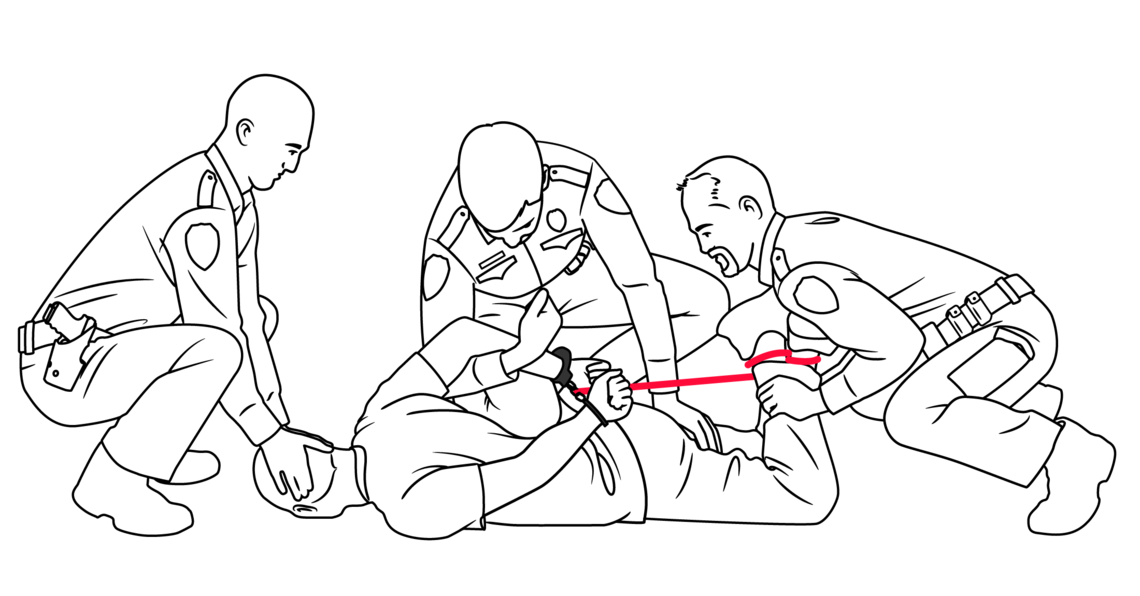 Generally, it can take three or more officers several minutes to get someone down into a hogtie.