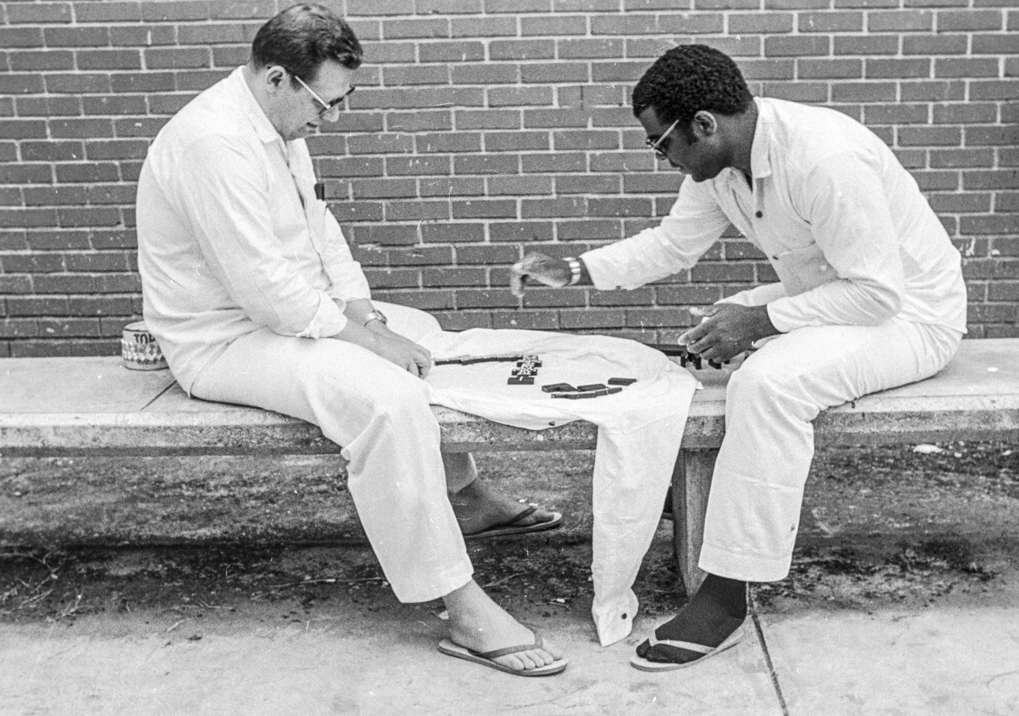 Raymond Riles, right, with Ronald O'Bryan at the Ellis Unit in Huntsville, Texas, in 1979. In that era, incarcerated people on death row could go to the exercise yard for three 90-minute periods a week.