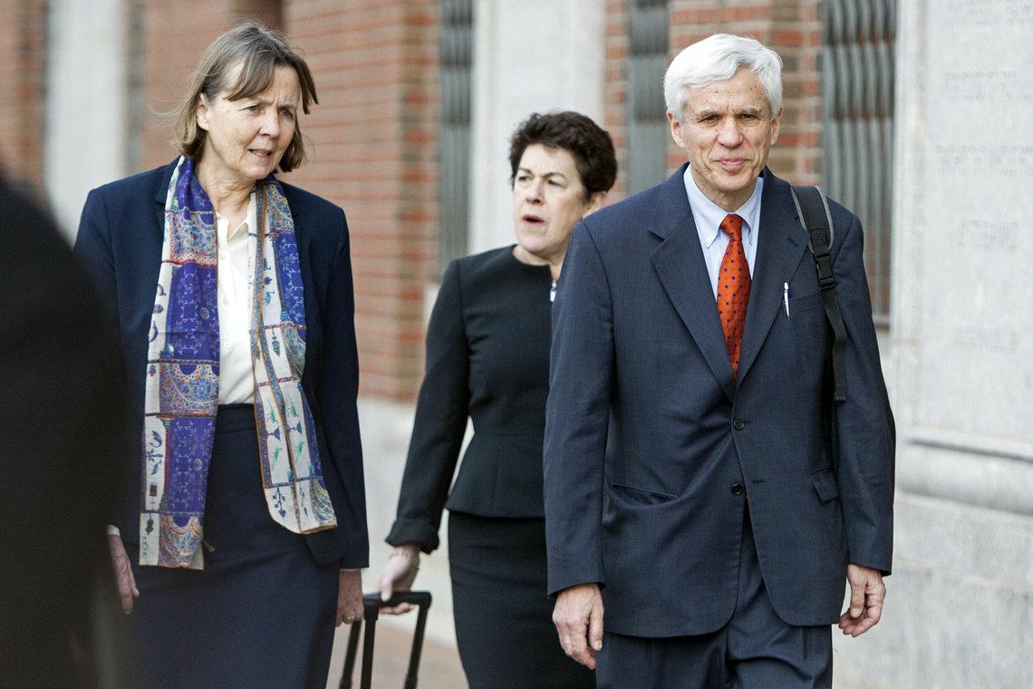 David Bruck, right, with members of the legal defense team for Boston Marathon bombing suspect Dzhokhar Tsarnaev, including Judith Clarke, left, and Miriam Conrad in April.