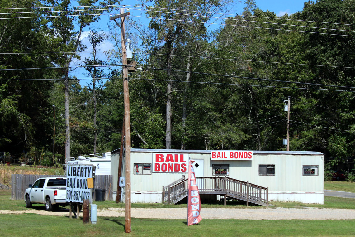 A bail bond office in Hinds County, Mississippi where Byram, the court that uses post-conviction bonds is.