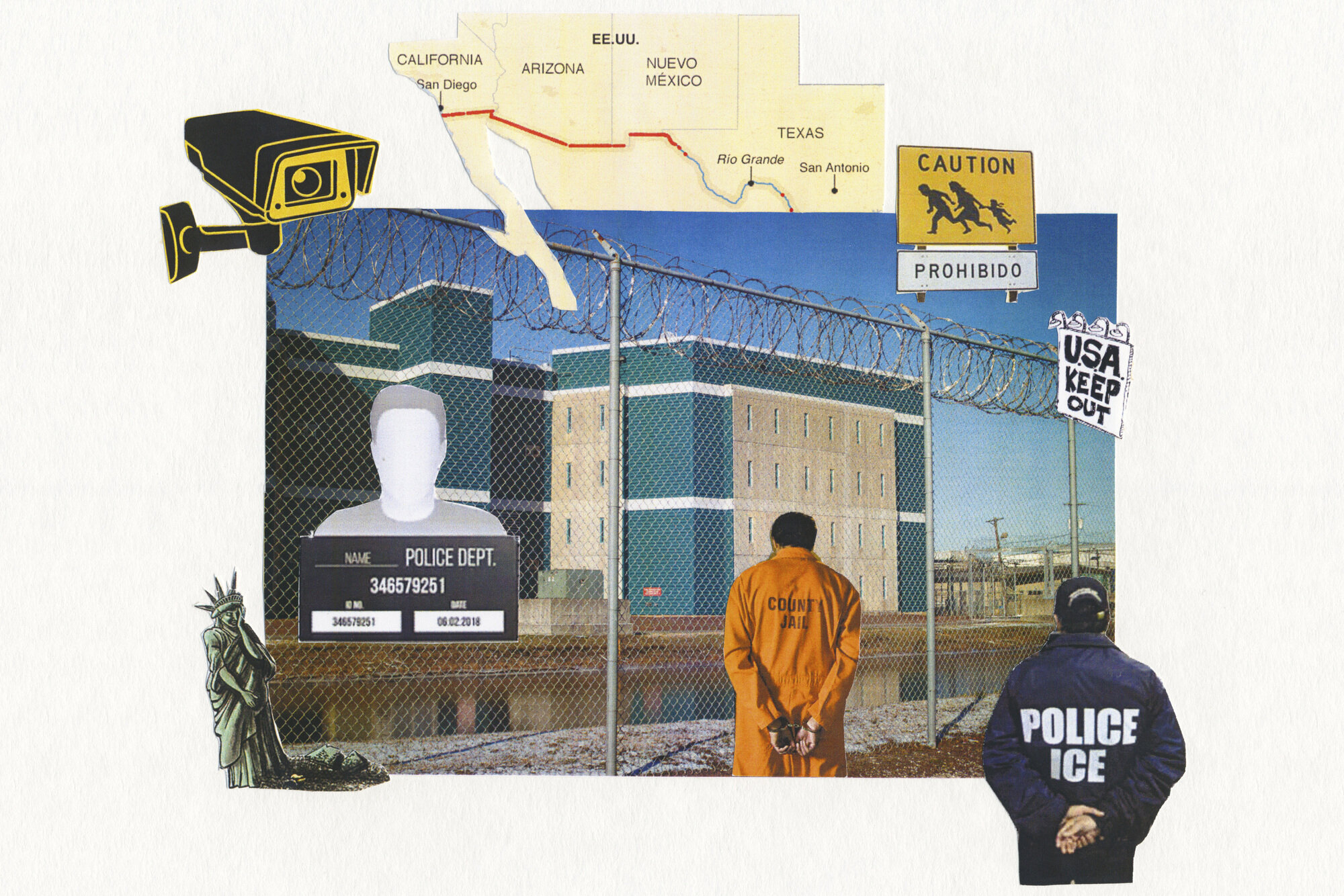 """In her multimedia project """"Spaces of Detention,"""" Cinthya Santos-Briones makes collages based on the stories of formerly detained immigrants in New Jersey. She holds small workshops where participants describe — and in some cases draw — what it's like to be held in a county jail or private immigration facility."""