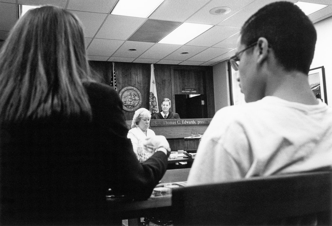 Judge Edwards sits at the bench of the San Jose Juvenile Court. (1999)