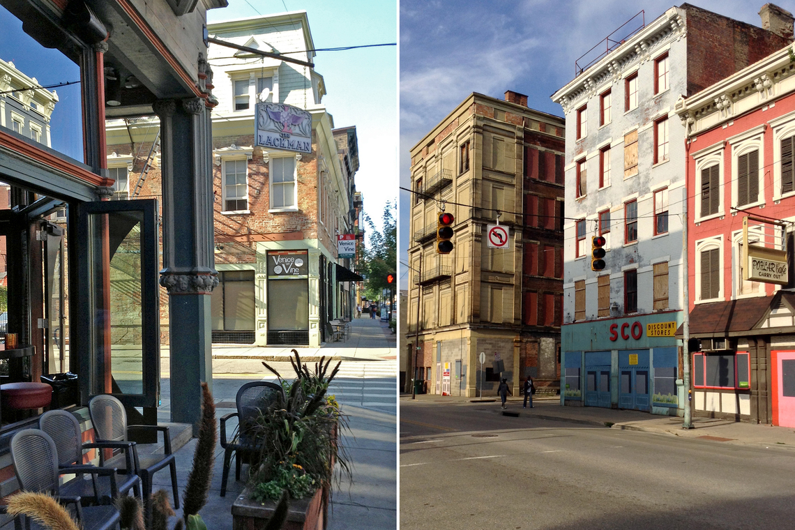 The Lackman Bar (left) in Cincinnati's Over-the-Rhine, one of the area's most popular hangouts.  Other parts of the neighborhood are still developing.