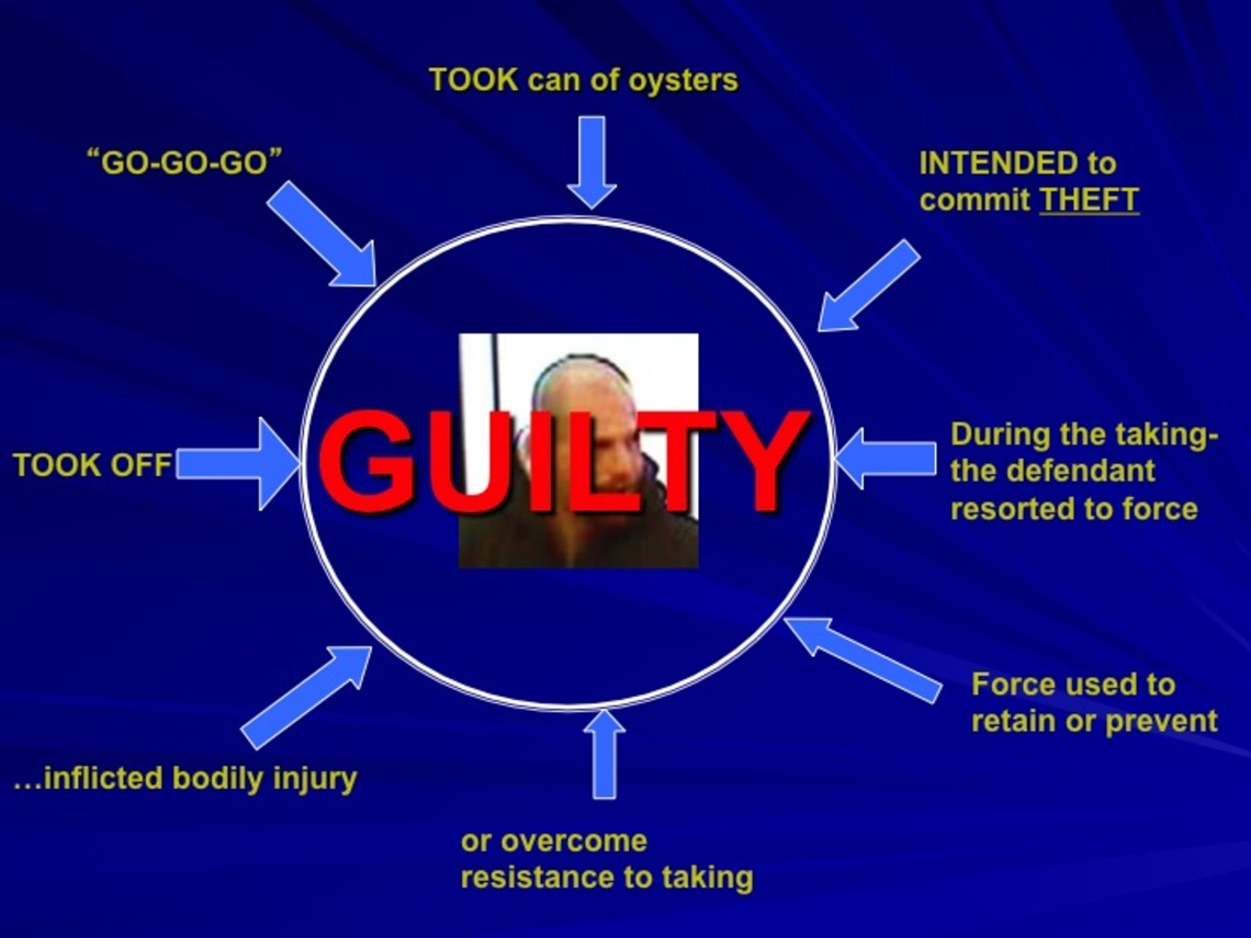 The last slide used by the prosecution during closing arguments in the case against Jay Earl McKague.