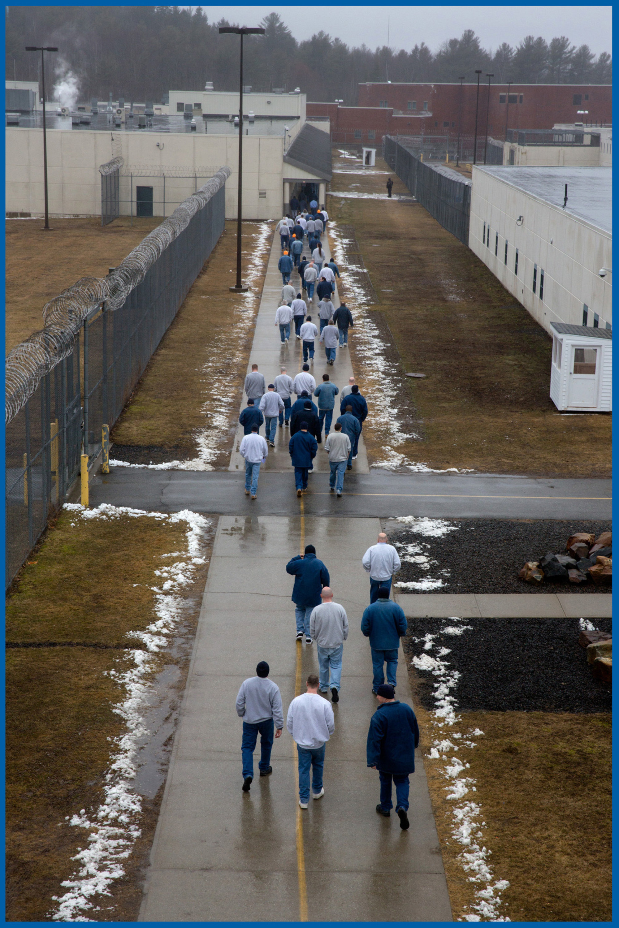 Men walked to the lunchroom at Maine State Prison in Warren, Maine, in 2016.