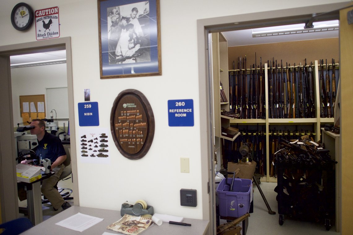 Analyzing shell casings at the New Jersey State Police's Major Crime Bureau in Hamilton, N.J.