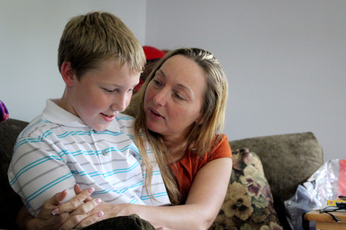 Cass with her 11-year-old son, Matthew.