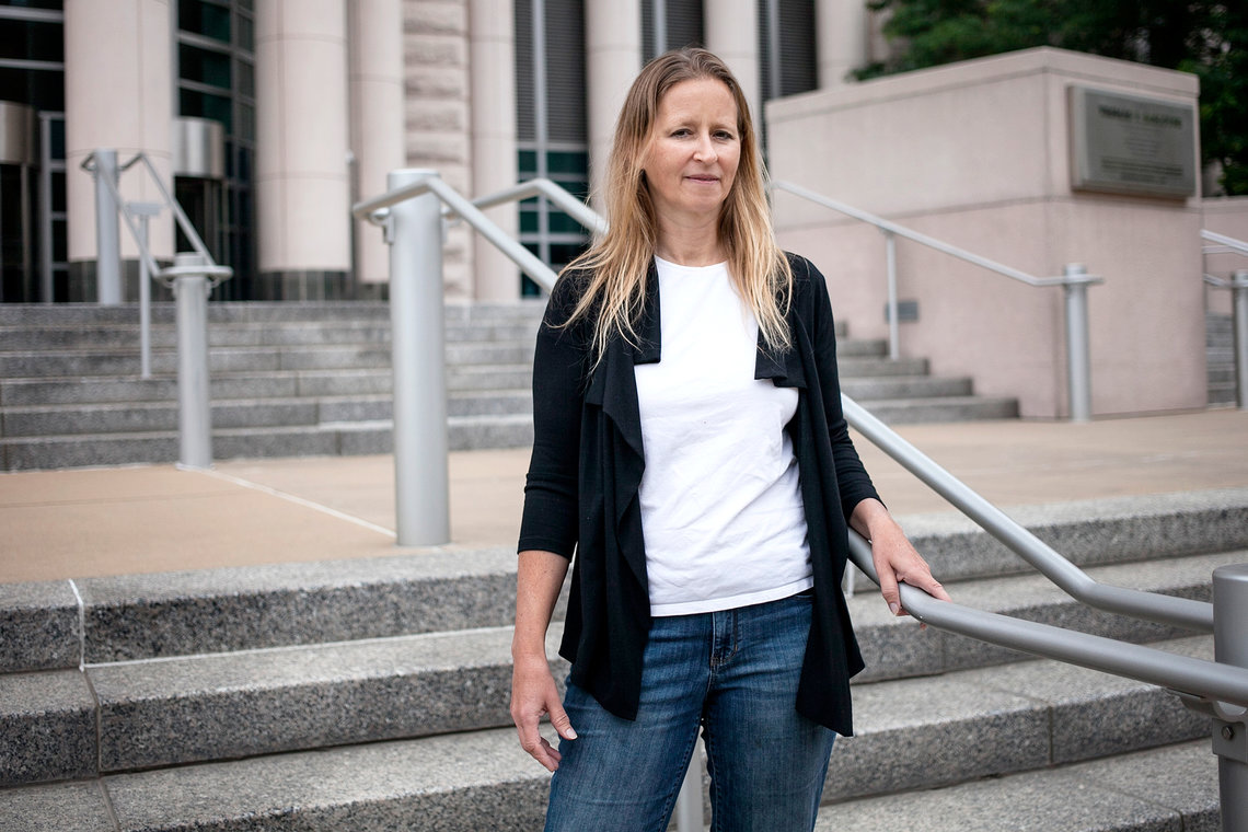 Attorney Jennifer Herndon outside the Thomas F. Eagleton U. S. Courthouse in downtown St. Louis, Mo., in June 2015.