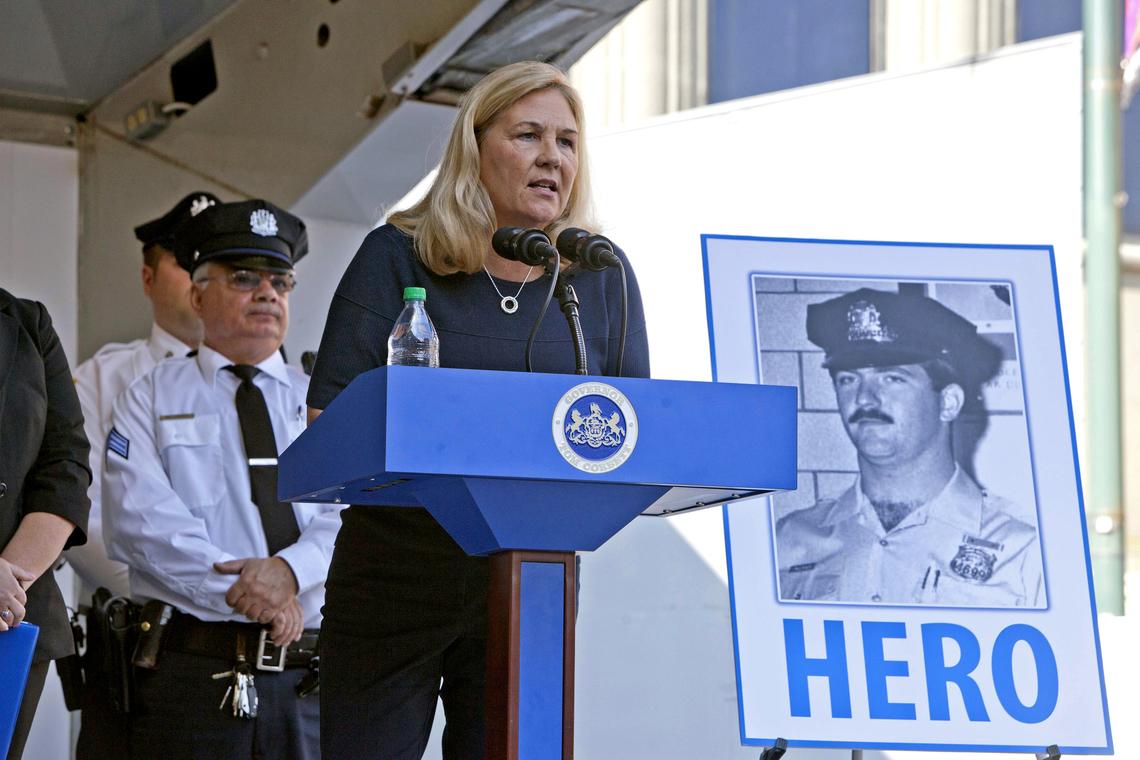 Maureen Faulkner, widow of police officer Daniel Faulkner, speaking at a ceremony where Pennsylvania Gov. Tom Corbett signed the Revictimization Relief Act on Oct. 21, 2014 in Philadelphia.