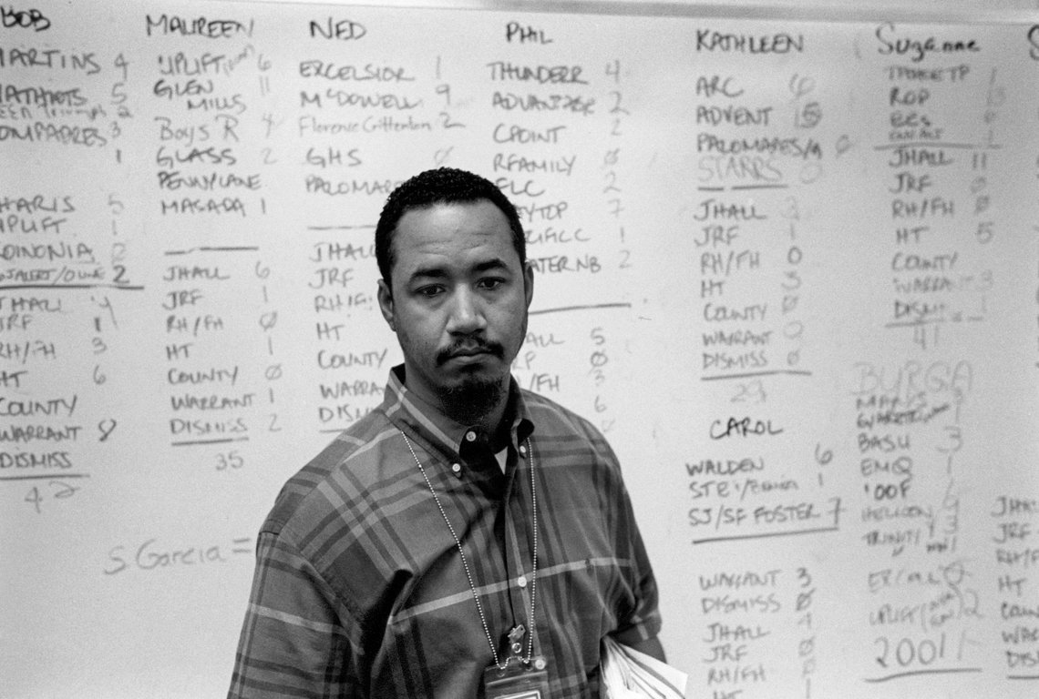 Brent Cooper, a probation officer for the Santa Clara County Probation Department. (San Jose, 1999)