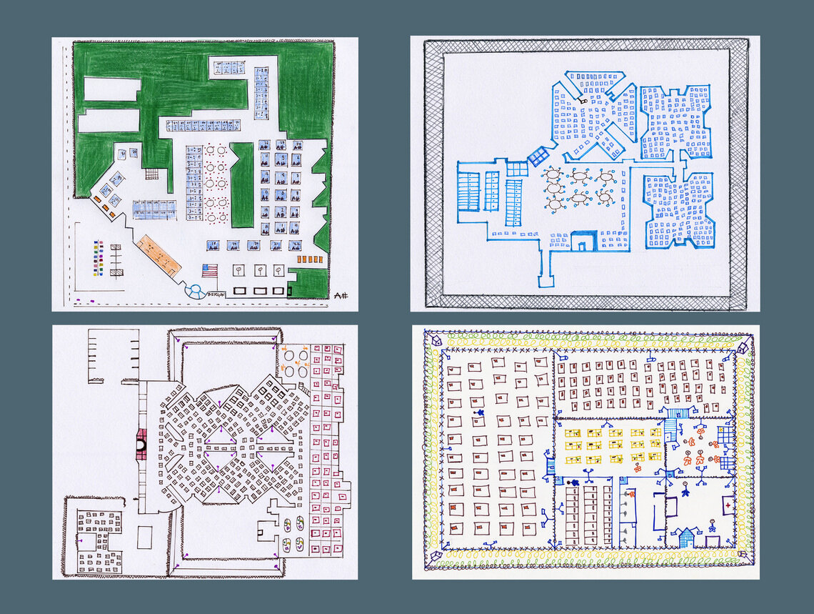 Formerly detained participants drew blueprints of the facilities where they were held. Clockwise from left: Bergen County and Essex County jails, Elizabeth Detention Center and Hudson County Jail.