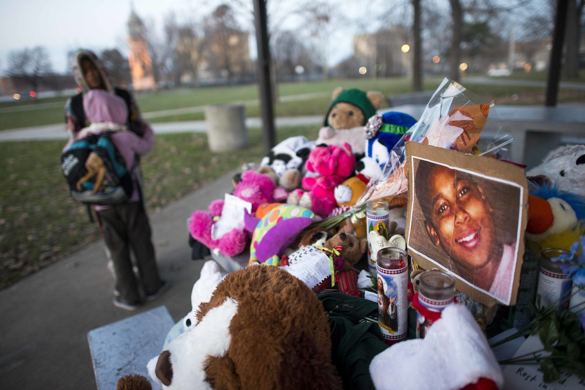 A memorial site dedicated to Tamir Rice at Cudell Commons Park, where a police officer fatally shot the 12-year-old boy in 2014.
