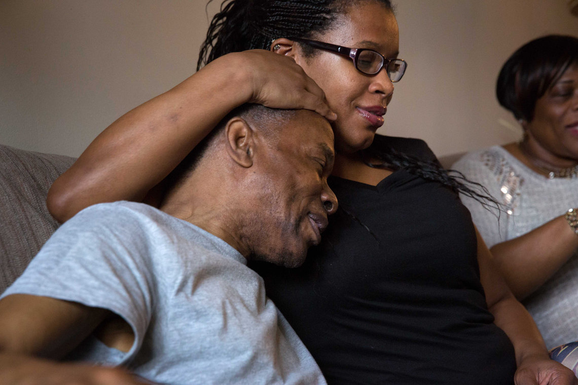 Elston with his niece Germonda Halsey in Philadelphia, at one of the many family get togethers since his release from prison.