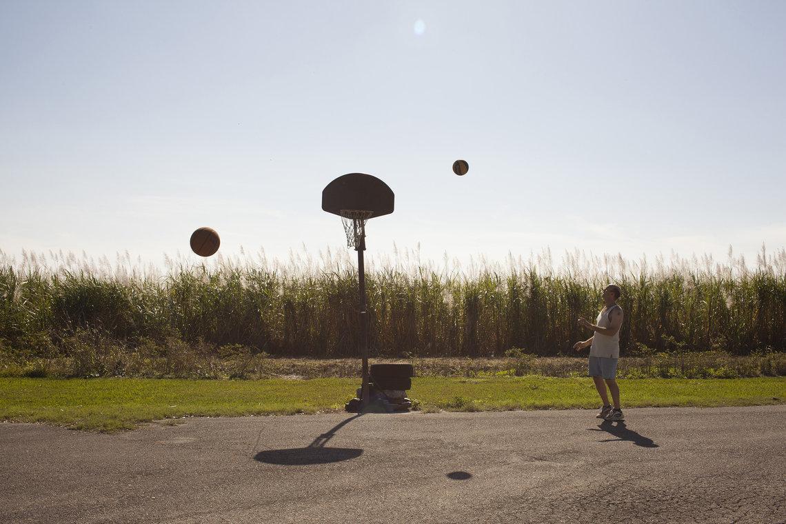 Richard playing basketball.